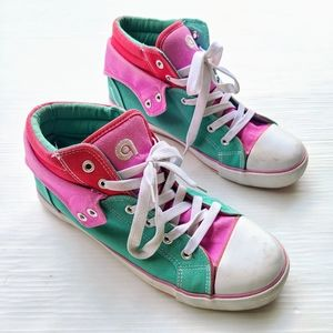 Converse style colorblock high top chucca shoes